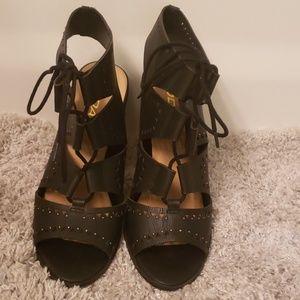Soda Black Lace Up Shoes